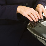 Court Reporter from Broward County enter records on a Stenography machine